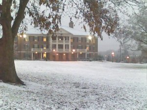 This picture was taken during my freshmen year. It snow a little bit for one day. The building you see is a residence hall where only juniors and seniors are allowed to live. I lived there during my last two years.